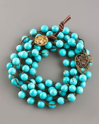 Love Heals | Blue Turquoise Bead Wrap Bracelet | Lyst