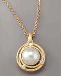 Majorica | Metallic Pearl & Cubic Zirconia Pendant Necklace | Lyst