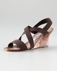 Manolo Blahnik | Brown Terwe Covered Wedge | Lyst