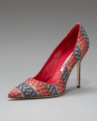 Manolo Blahnik | Red Multicolor Fabric Point-toe Pump | Lyst