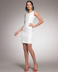 Oscar de la Renta - White Pleated-front Sheath Dress - Lyst