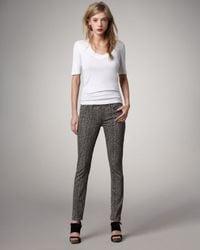 PAIGE | Gray Leopard-Print Legging Jeans | Lyst