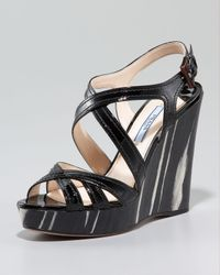 Prada | Black Patent Leather Wood Wedge Sandal | Lyst