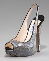 Prada | Gray Exclusive Sequin Degrade Platform Pump | Lyst