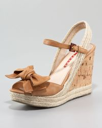Prada - Natural Leather Bow Espadrille Wedge Sandal - Lyst