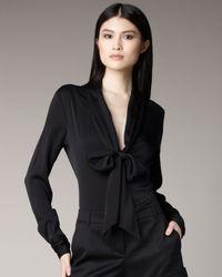 Rachel Zoe | Tie-neck Plunge Blouse, Black | Lyst