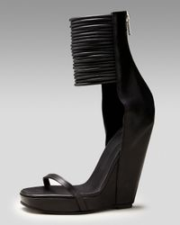 Rick Owens | Black Ringed Ankle-wrap Wedge Sandal | Lyst