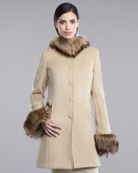 St. John | Natural Raccoon Trimmed Coat | Lyst