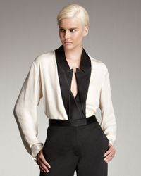 Stella McCartney | Natural Inverted Tuxedo-lapel Blouse | Lyst