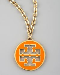 Tory Burch - Orange Logo Pendant Necklace - Lyst