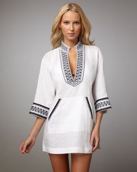 Tory Burch | White Embroidered Linen Tunic | Lyst
