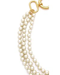 Fallon | Metallic Classique Triple Gold Pearl Necklace | Lyst