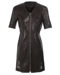 Alexander Wang - Black Leather Dress with Hexagon Lattice Panels - Lyst