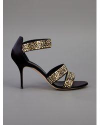 Casadei   Black Stud Embellished Sandal   Lyst
