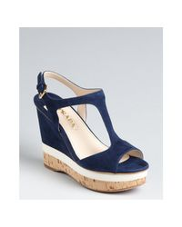 Prada | Blue Suede T-Strap Wedge Sandals | Lyst