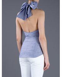 DSquared² - Blue Cotton Halter Neck Top - Lyst