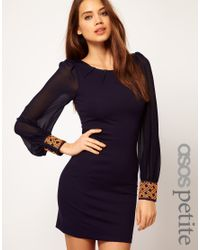 ASOS Collection | Blue Asos Petite Exclusive Bodycon Dress with Embellished Cuff | Lyst