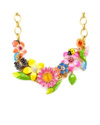 Betsey Johnson | Multicolor Multi Flower Statement Necklace | Lyst