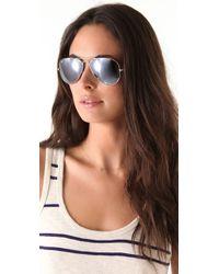 Ray-Ban | Black Mirrored Aviator Metal Sunglasses | Lyst