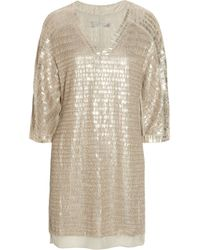 Reed Krakoff | Natural Embellished Silk-chiffon Dress | Lyst