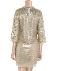 Reed Krakoff - Natural Embellished Silk-chiffon Dress - Lyst
