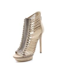 B Brian Atwood | Natural Frontera Suede Platform Booties | Lyst