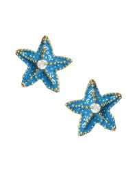 Betsey Johnson | Blue Turquoise Starfish Stud Earrings | Lyst