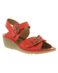 Fly London - Oelia Low Wedge Smu Red Leather - Lyst