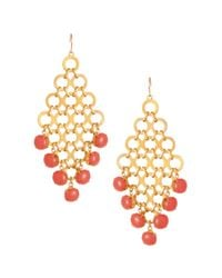 Kenneth Cole | Metallic Gold Tone Link and Coral Bead Chandelier Drop | Lyst