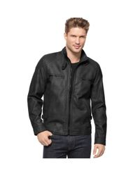 Calvin Klein | Black Faux Leather Moto Jacket for Men | Lyst