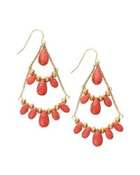 Lauren by Ralph Lauren | Red Reconstituted Coral Chandelier Earrings | Lyst