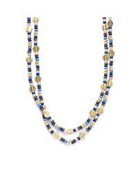 Lauren by Ralph Lauren | Metallic Gold Tone Multi Bead Necklace | Lyst