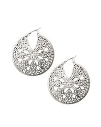 Lucky Brand | Metallic Silver Tone Moroccan Openwork Hoop Earrings | Lyst