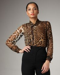 Saint Laurent | Natural Leopard-print Chiffon Blouse | Lyst