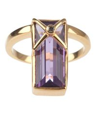 Zara Simon - Metallic Shard Cross Vermeil Ring - Lyst