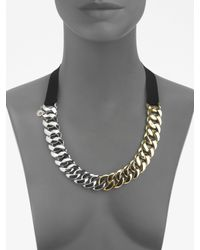 Marc By Marc Jacobs | Black Twotone Chain Link Ribbon Necklace | Lyst