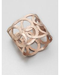 Oscar de la Renta - Metallic Hammered Loop Cuff Bracelet - Lyst