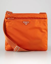 Prada | Orange Medium Flat Crossbody Bag | Lyst