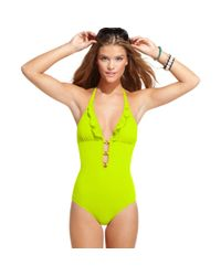 Guess - Green Plunge Halter Ruffle One Piece - Lyst