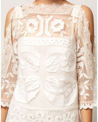 ASOS | Beige Asos Salon Shift Dress with Cutwork | Lyst