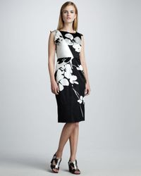 Elie Tahari | Black Luanna Stretch Silk Dress | Lyst