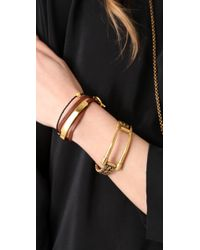 Gorjana - Brown Graham Leather Triple Wrap Bracelet - Lyst