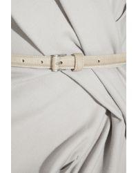 Donna Karan - Gray Belted Stretch Wool-blend Dress - Lyst