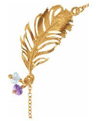 Alex Monroe - Metallic 22 Karat Gold Plated Multistone Feather Bracelet - Lyst