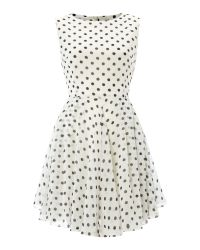 Glamorous | Natural Sleeveless Floaty Spot Dress | Lyst