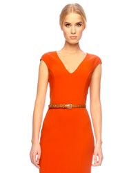 Michael Kors | Orange Belted Sheath Dress, Sienna | Lyst