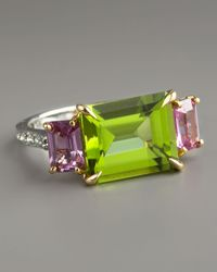 Paolo Costagli | Green Peridot & Pink Sapphire Ring | Lyst