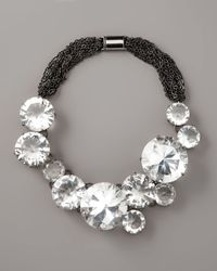 Vera Wang | Metallic Big Crystal Chain Necklace | Lyst