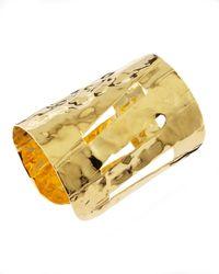 Devon Leigh - Metallic Hammered Gold Cuff - Lyst