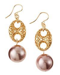 Devon Leigh - Metallic Pearldrop Earrings - Lyst